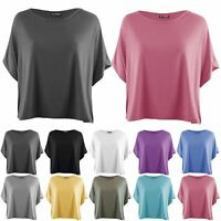 Ladies Casual Batwing Short Sleeve Round Neck Womens Oversized Baggy T Shirt Top