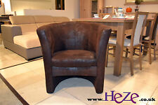 Stylish and elegant tub chair York, antique faux leather, high quality, large!