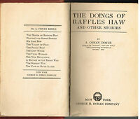 The Doings Of Raffles Haw & Other Stories by A Conan Doyle 1919 Vintage Book $