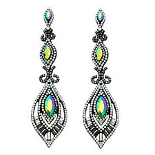 ABVERKAUF lange Ohrringe Kristall Milchig Weiß Opal Minz Vitrail Grau Klar 10 cm