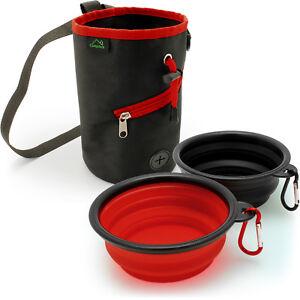 2X Foldable Travel Silicone Dog Bowl Dish & Dog Training Pouch Snack Treat Bag