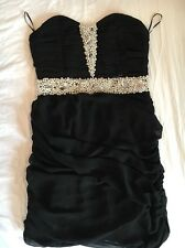 black strapless dress Embellished With Pearls And Diamanté. Size 12 But Fits8/10