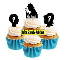 Crimen Y Misterio / quien dunnit? Mix 12 Comestibles Stand Up Oblea papel Cake Toppers