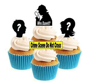 Murder Mystery / Who dunnit? Mix 12 Edible Stand Up wafer paper cake toppers
