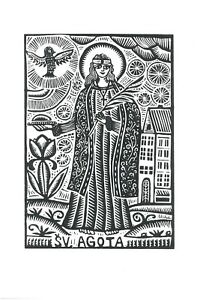 "Original Linocut Print ""Saint Agatha"" by Lithuanian Traditional Artist"