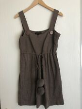 BCBG Max Azaria Straps Pompoms Brown Dress Angora/wool Blend Sweater Dress Sz XL
