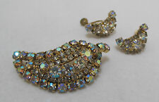 Vtg CONTINENTAL Aurora Borealis Multi-Shape Rhinestone Brooch Earrings Set