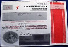 Canada stock certificate The Canadian Helicopters issued in 2000