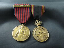 WW2 BELGUIM 2 MEDAL CLASP VOLUNTEER AND POW MEDALS WITH ORIGINAL RIBBONS (2696)