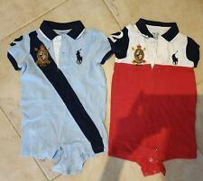 2x Ralph Lauren Baby Boy 6-9 Month Romper Outfit