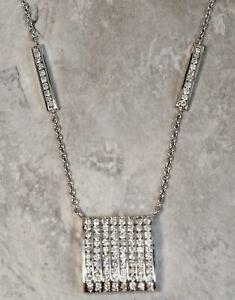 Modern Ladies 14K White Gold 2.00ctw Diamond Square Pendant Necklace