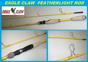 "EAGLE CLAW Featherlight 7'-6"" Fiberglass Spinning Rod #FL209-76 FREE USA SHIP!"
