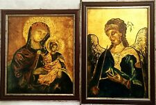 2 FRAMED RELIGIOUS ICON GILT GOLD PAINTINGS ITALIAN POSITANO REPRODUCTIONS