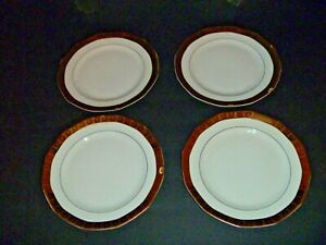 VINTAGE - LE ROI 18K GOLD - QUEEN ANNE - SET OF 4 LUNCHEON PLATES - FRENCH CHINA