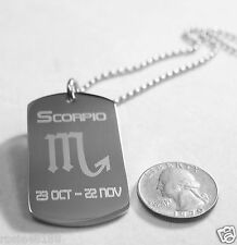 SCORPIO ZODIAC SIGN TRAITS DOG TAG NECKLACE PENDANT STAINLESS STEEL