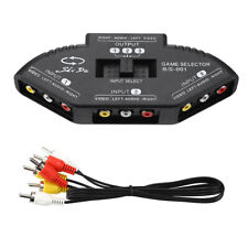 3-Way Audio Video Av Rca Black Switch Selector Box Splitter with Rca Cable
