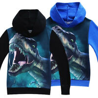 Kids Boys Dinasour Print Hoodie Sweatshirt Pullover Tops