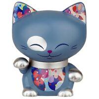 Mani Figura 7cm Gato Japonés Azul Collar Plateado Lucky Cat Maneki Neko 622
