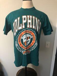 Vintage 90s Miami Dolphins Nutmeg T Shirt Mens L USA Made Single Stitch Green