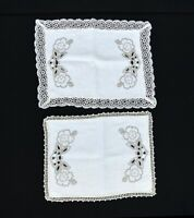 2 Vintage Cream Linen with Brown Floral Embroidery Crochet Border Doilies