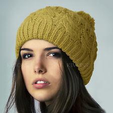Pompom Slouchy Knit Baggy Beanie Oversize Winter Hat Ski Cap Skull Womens 7-red
