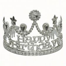 Happy Birthday Tiara Silver Jeweled Plastic Princess Queen Party Crown