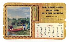 Vintage 1975 Fishing Thermometer Calendar North Bay Trade Advertising K494
