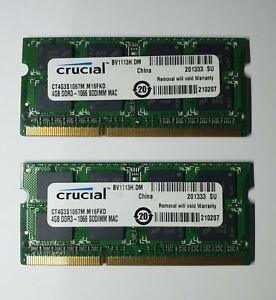 Crucial 8GB 2x4GB DDR3 1066MHz PC3-8500S SODIM Memory RAM 204Pin apple mac