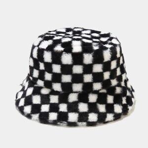 Winter Bucket Hat Unisex Faux Fur Panama Soft Plaid Fisherman's Warm Hats #27