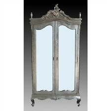 French Antique Style Silver Armoire / Silver Wardrobe / Shabby Chic