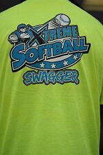 SOFTBALL- NEON-SAFETY GREEN XL T-SHIRT FRONT CHEST AND FULL BACK PRINT