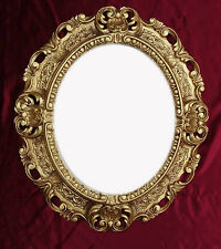 Picture Frame with Glass Protection Gold Oval Baroque Antique Repro Vintage