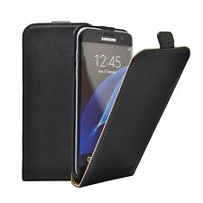 SLIM BLACK Leather Flip Case Cover Pouch For Samsung Galaxy S7 Edge +2 FILMS