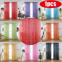 1PCS Christmas Snowflake Curtain Tulle Window Treatment Voile Drape Valance
