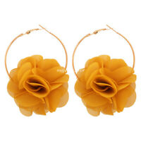 18K Gold Plated Elegant Fabric Flower Earrings For Women Jewelry Fashion Gifts