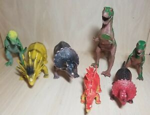 Lot 7 Vintage 1980s Dinosaurs 1985 Imperial Vinyl Toys/Figures China/Hong Kong