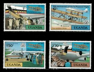 Uganda 1978 - FIRST POWERED FLIGHT ANNIVERSARY - Set of 4 (Scott #211-14) - MNH