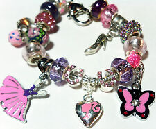 "European Charm Bracelet 8"" Barbie Princess Slipper Butterfly Heart Graduation"
