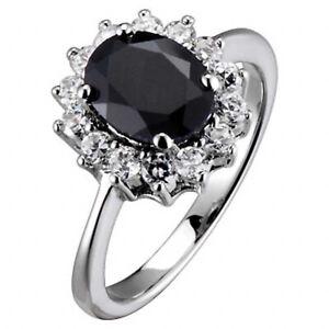 Women's Wedding Band Dark Sapphire White Gold EP Royal Replica Engagement Ring