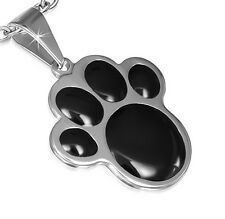 Puppy Dog Black Paw Print 316 Stainless Steel Metal Pendant Necklace