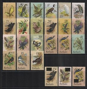 British Colonies Barbados 1979 Birds Set + Surcharges Mint Never Hinged