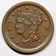 1853 N-17(a) E-MDS Braided Hair Large Cent Coin 1c