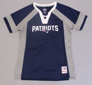 New England Patriots Women's Majestic Draft Me V-Neck T-Shirt BF5 Navy Large NWT