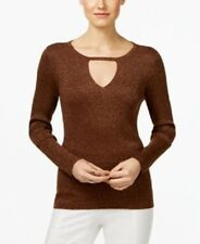 Inc International Concepts Womens Size Large Brown Gold Metallic Keyhole Sweater