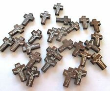 Wholesale Lot of 50 Small Wood Crucifixes, 7/8 Inch, Holes for Necklace Cords
