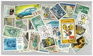 Bicycles & Cars - 100 Different Thematic Stamps Used Off Paper