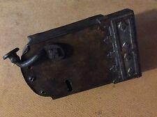 GRANDE antico ferro/ottone Leva Di Blocco Porta Maniglia Con Vintage Old