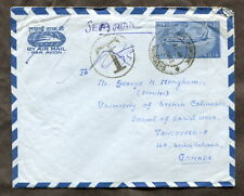 p472 - INDIA 1969 Airmail Cover to CANADA. Postage Due Marking. Stationery
