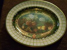 "Vintage Daher Decorated Ware 13""x10"" Oval Floral Fruit Tin Platter Tray England"