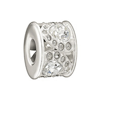 Chamilia Royal Petals Black And White Bead In 925 Sterling Silver,2083-0450